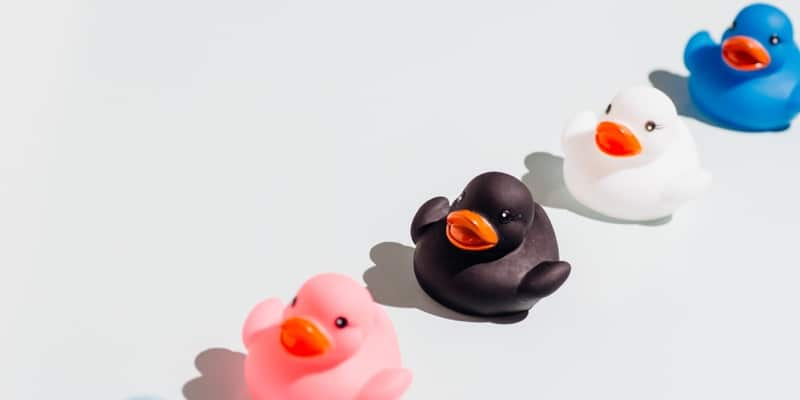 colored rubber ducks